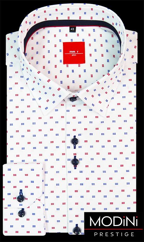 Biała koszula męska w czerwono-niebieski wzór