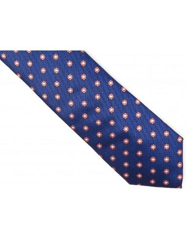 Granatowy krawat w kwiaty D224
