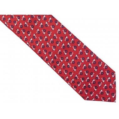 Czerwony krawat w kwiaty D227