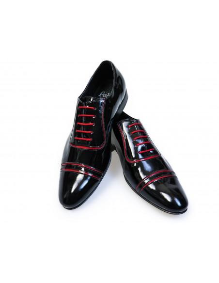 Czarne lakierki męskie z czerwonymi kontrastami T101