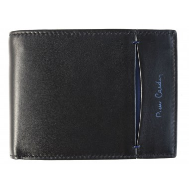 Czarny skórzany portfel Pierre Cardin z granatpwym PF10