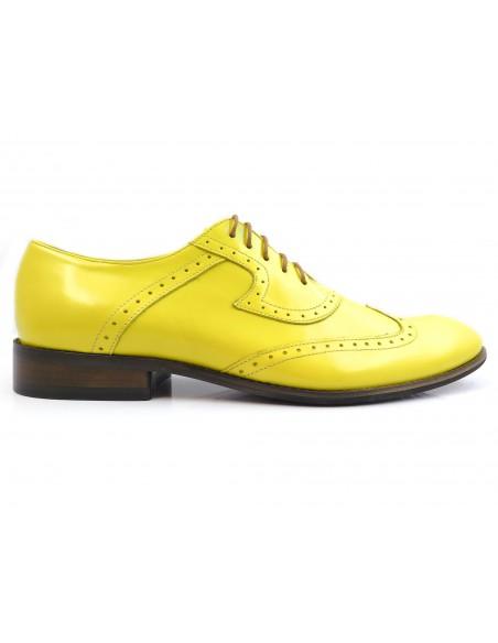 Żółte męskie buty wizytowe - brogsy T102