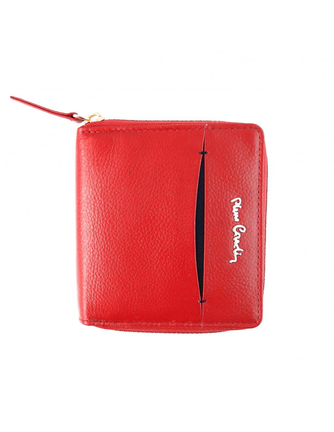 2941b745be368 Skórzany czerwony damski portfelik Pierre Cardin PFD1