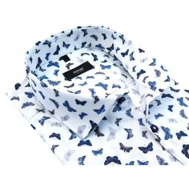 Biała koszula w niebieskie motyle 824
