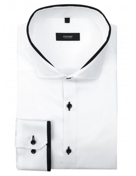 Biała koszula z długim rękawem - czarne kontrasty 885