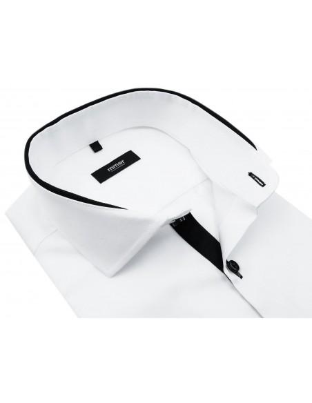 Biała koszula z długim rękawem - czarne kontrasty 889