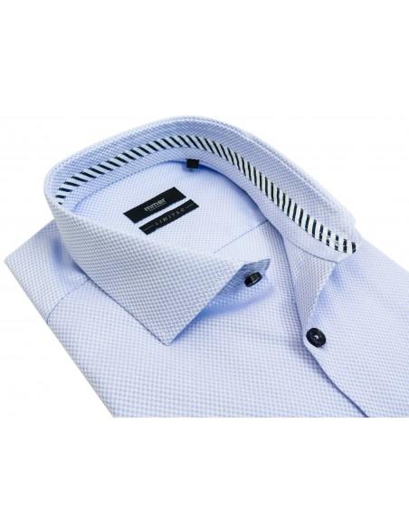 Limitowana błękitna koszula w splot w kratkę 441