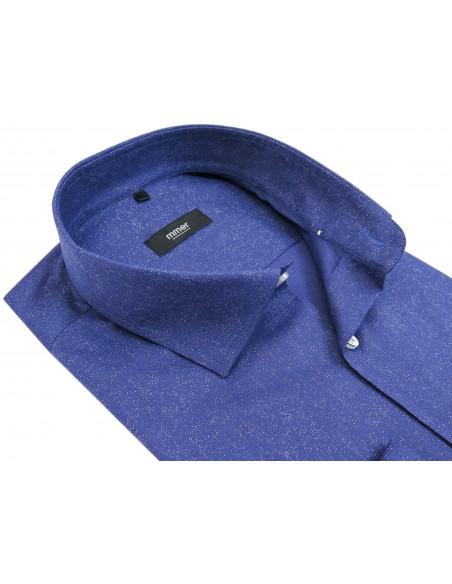 Niebieska koszula w białe drobne kropki 629