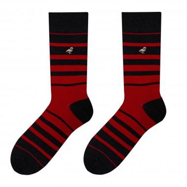 Szaro-czerwone skarpety męskie w paski SK111
