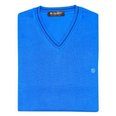 Niebieski sweter męski w szpic SW30