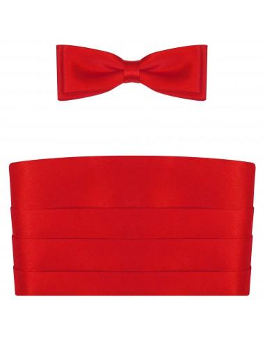 Czerwony pas smokingowy z muchą slim