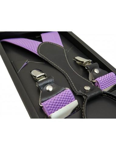 Jasno fioletowe - wrzosowe szelki do spodni SZ18