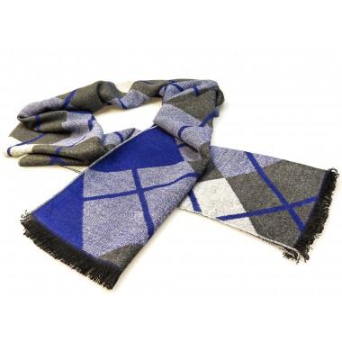 Szaro-niebieski szalik męski w kratkę R31