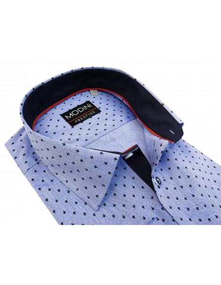 Biała koszula w niebieskie drobne romby A32