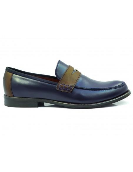 Granatowo-brązowe wsuwane buty męskie - loafers T104
