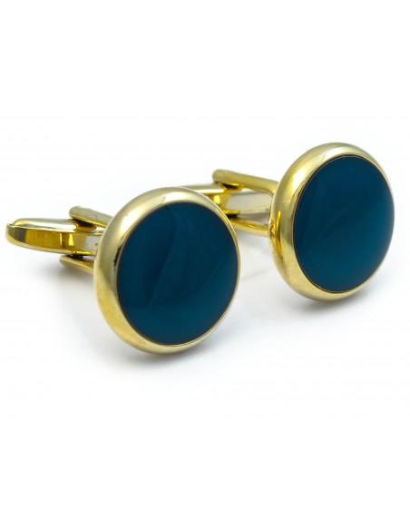 Spinki smokingowe - złote z ciemnoniebieskim oczkiem H83
