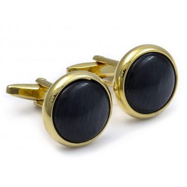 Złote spinki smokingowe do mankietów z czarnym oczkiem PREMIUM H85