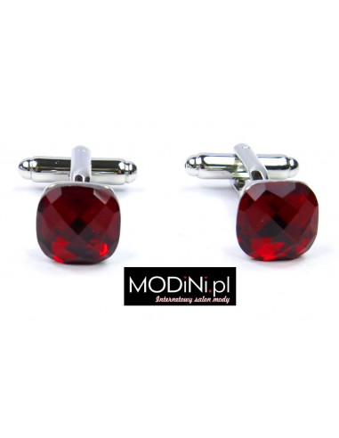 Spinki do mankietów - czerwone kryształy