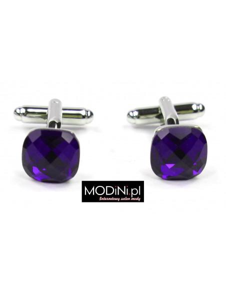 Spinki do mankietów fioletowe kryształy