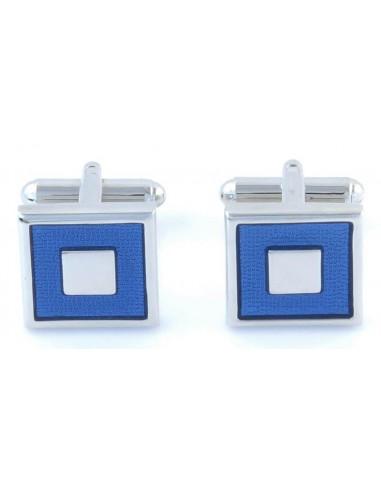 Spinki srebrne - niebieskie kwadraty M27