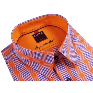 Pomarańczowa koszula Kastor w kratę K65