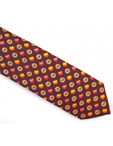 Brązowy jedwabno-bawełniany krawat - owoce