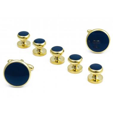 Złote spinki do mankietów i guziki do koszuli smokingowej z granatowym oczkiem - zestaw H123
