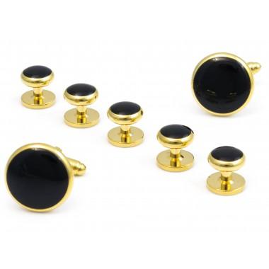 Złote spinki do mankietów i guziki do koszuli smokingowej - zestaw H17