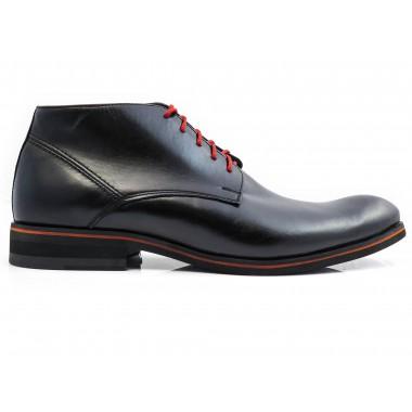 Czarne ocieplane buty męskie zimowe z czerwonymi wstawkami BZ5