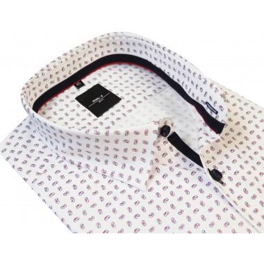 Biała koszula męska w drobny czerwony paisley 454