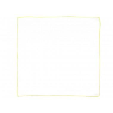 Biała poszetka z żółtym obszyciem E181