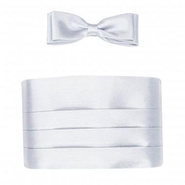 Srebrny pas smokingowy z muszką slim - jasny