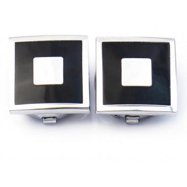 Srebrno-czarne kwadratowe nakładki na guziki M111