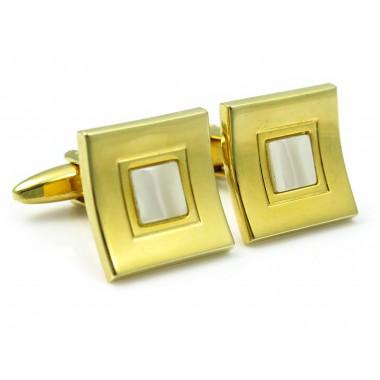 Złoto-perłowe spinki do mankietów U178