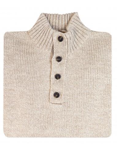 Beżowy sweter męski - półgolf SW37