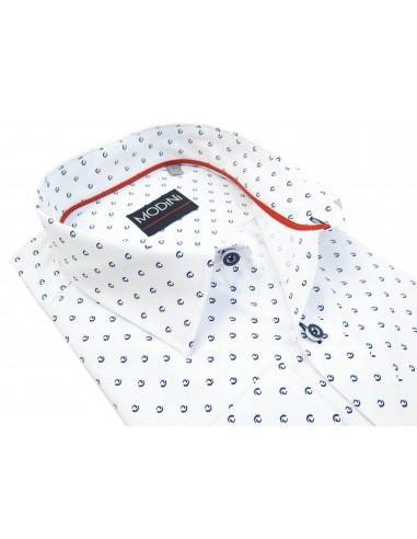 Biała koszula z granatowym wzorem A35