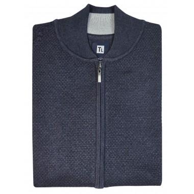 Grafitowy rozpinany sweter męski SW40