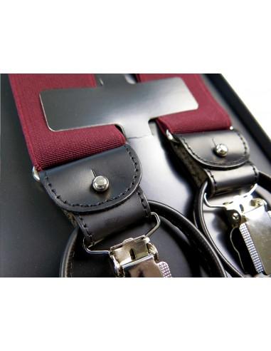 Bordowe szelki na guziki G6