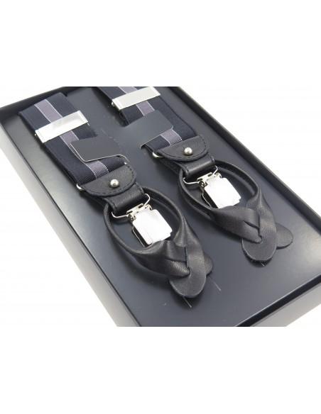 Szelki do spodni na guziki - ciemno grafitowe z szarym paskiem G25