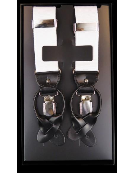 Białe szelki do spodni na guziki z czarną skórą G4