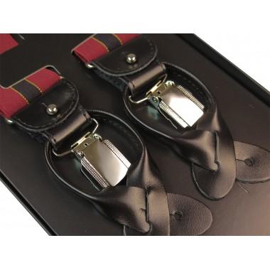 Bordowe szelki na guziki z czarnym paskiem G21