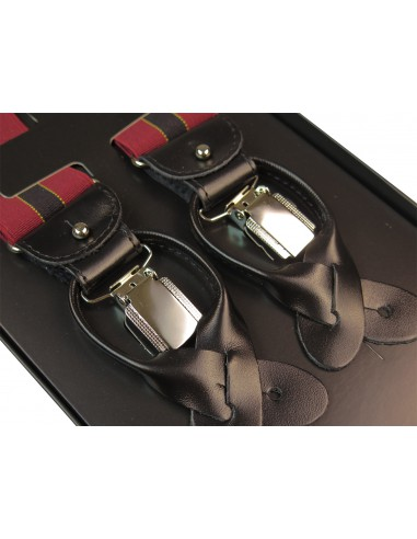 Bordowe szelki na guziki z czarnym...