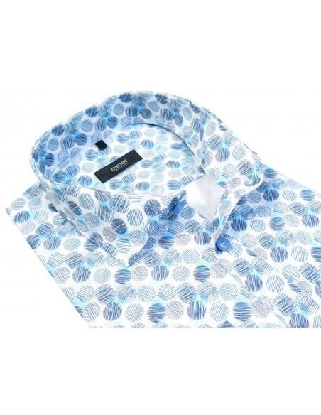 Biała koszula w granatowo-niebieskie kółka 809