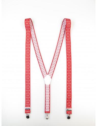 Czerwone szelki unisex w białe grochy X10