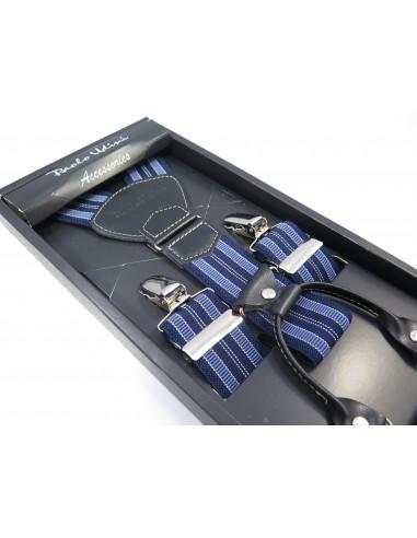 Granatowo-niebieskie szelki męskie -...