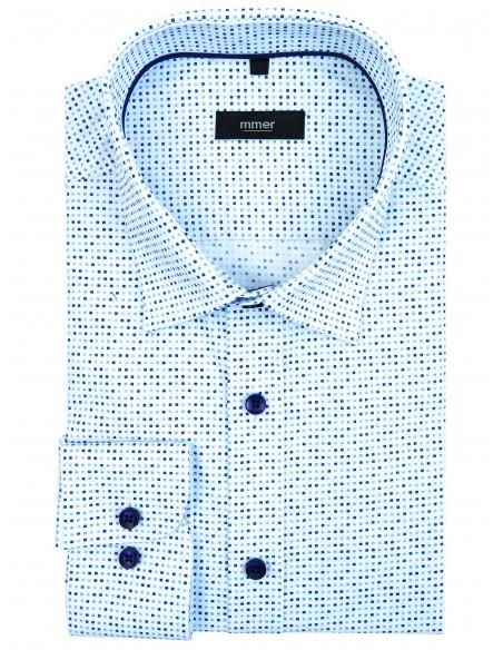 Biała koszula w granatowo-niebieskie kwadraciki 870