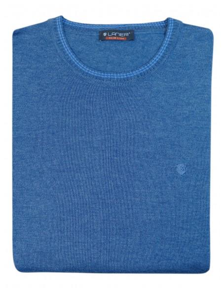 Niebieski sweter męski SW44 - półgolf niski