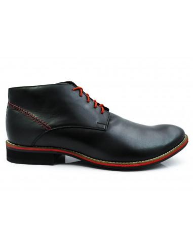 Czarne ocieplane buty męskie zimowe z czerwonymi wstawkami BZ6