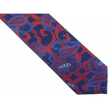Granatowo-czerwony jedwabny krawat we wzór - paisley D237