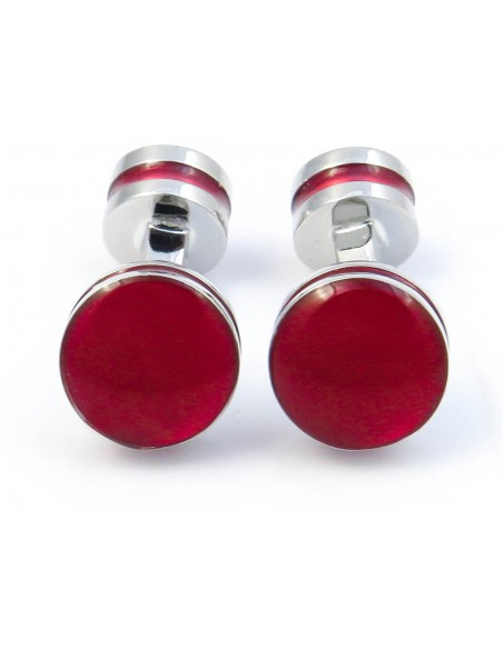 Czerwone okrągłe spinki do mankietów A155